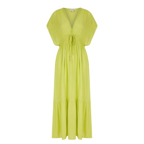 Nooki Lime Drawstring Maxi Dress - A Holiday Essential| Purchase Online With Free UK Delivery