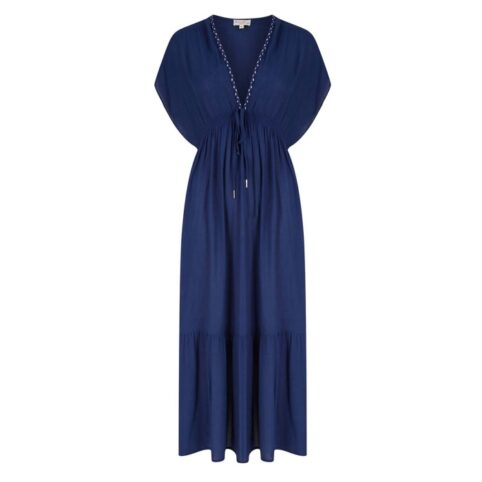 Nooki Drawstring Maxi dress Navy - the perfect summer dress. Buy online with free UK delivery