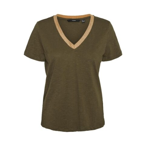 Vero Moda Gold Trim T-Shirt In Khaki. Buy Online With Free UK Delivery Over £20