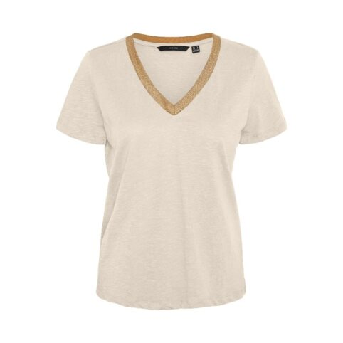 Gold Trim Neck TShirt In Cream. Buy Online With Free UK Delivery Over £20D