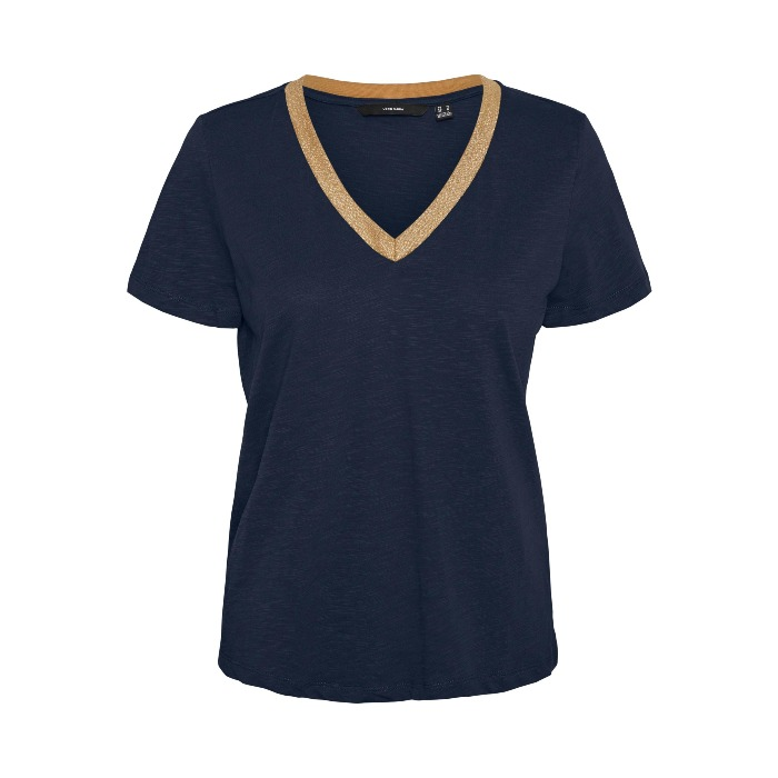 Navy Gold Trim Neck T-Shirt. Purchase Online With Free UK Delivery Over £20