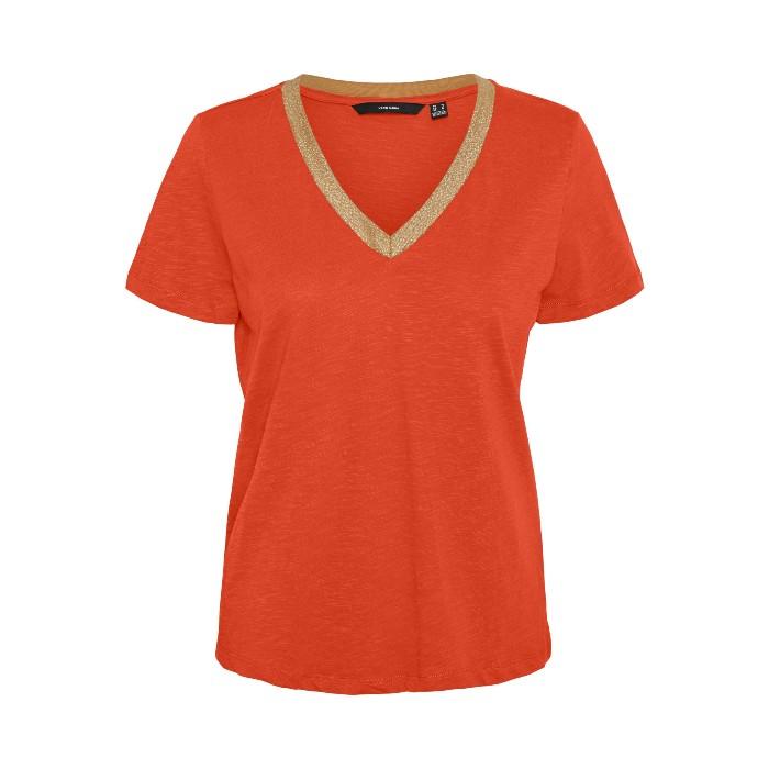 Vero Moda Gold Trim Neck T-Shirt In Orange. A great shape to wear day or evening. Buy online UK
