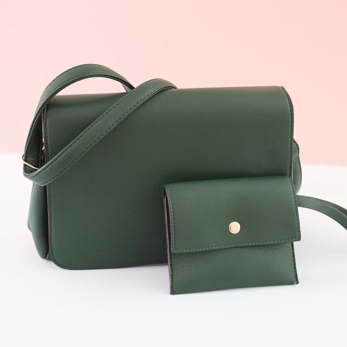 Green Faux Leather Crossbody Bag - Buy Online UK
