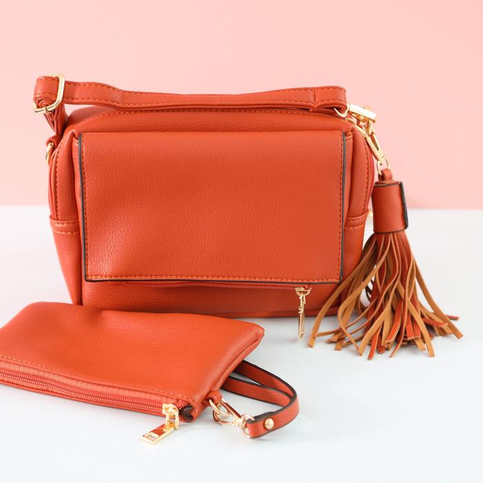 Orange Faux Leather Bag - Buy Online UK