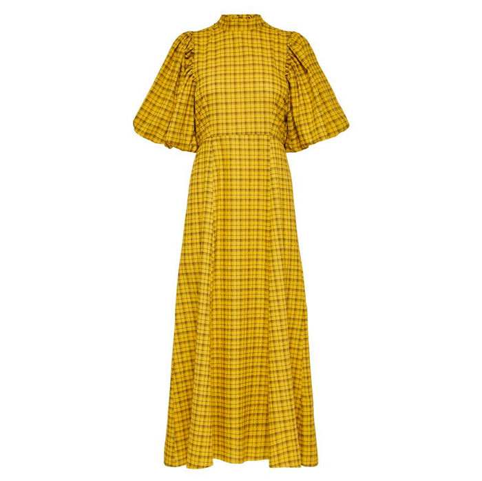 Yellow Checked Long Dress with Puff Sleeves - Buy Online UK
