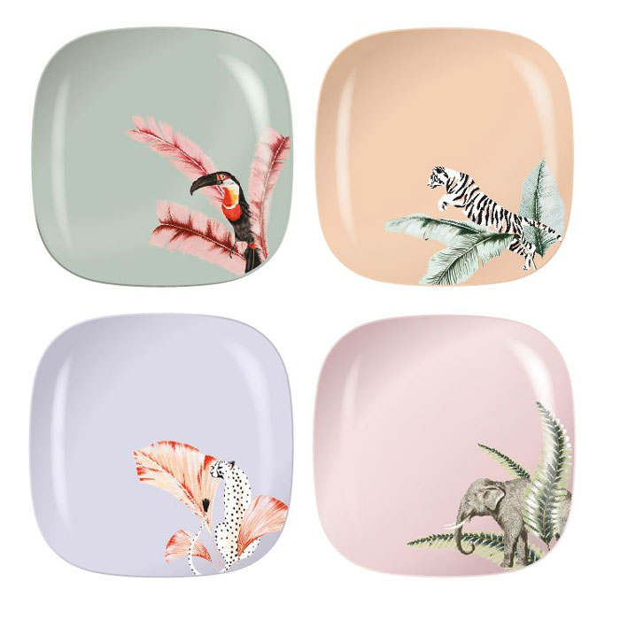Yvonne Ellen Picnic Plates - Set of 4 Stunning Animal Illustraions. Purchase Online With Free UK Delivery