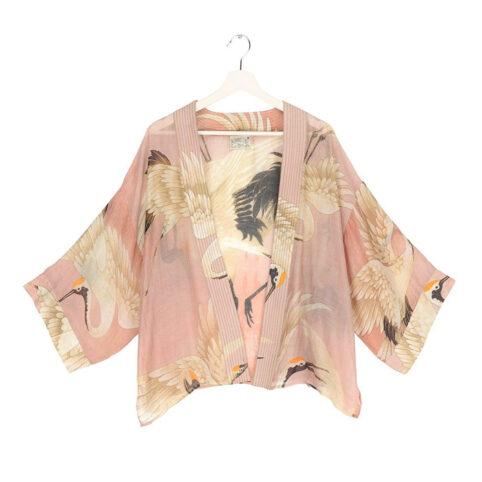 Short Kimono with Stork Print - Buy Online UK