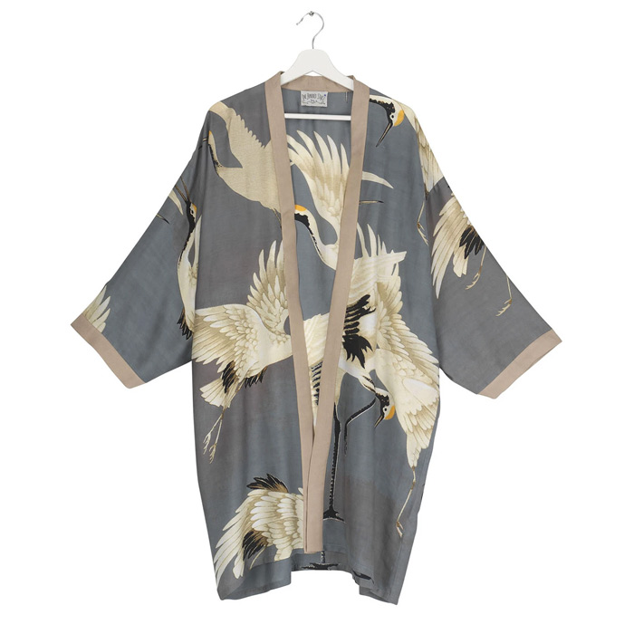 Slate Grey Stork Collar Kimono - Buy Online UK