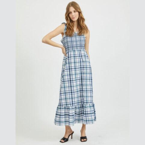 Check Sleeveless Maxi Dress