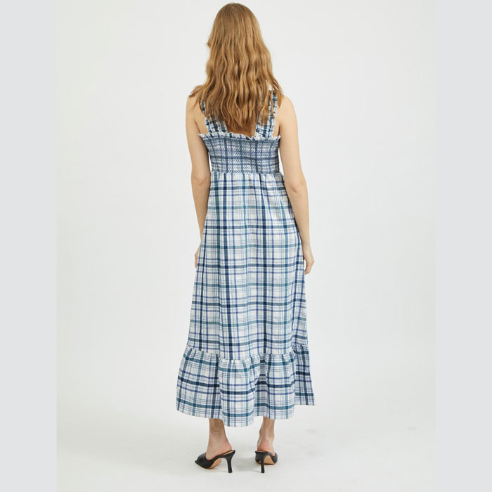 Blue and White Checkered Maxi Dress - Buy online UK