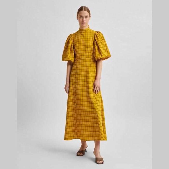 Check Puff Sleeve Dress - Buy Online UK