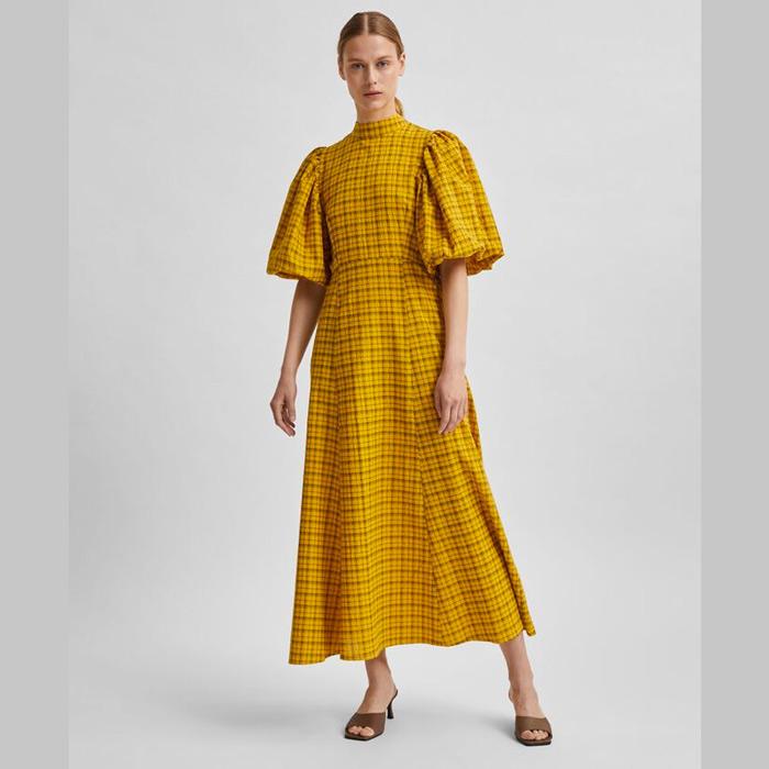 Selected Yellow Check Long Dress - Buy Online UK