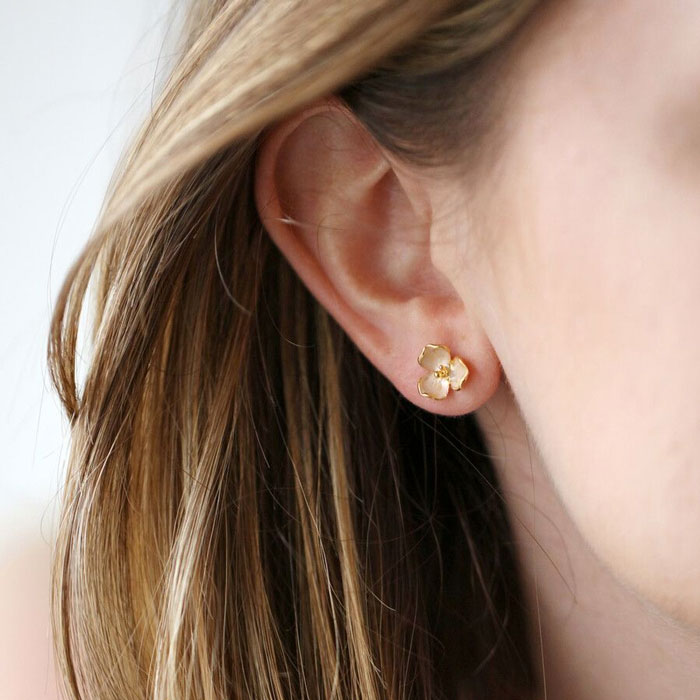 Pink and Gold Flower Earrings Studs - Buy Online UK