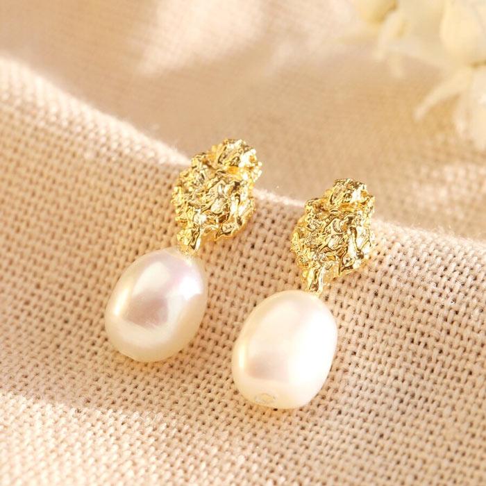 Gold Faux Pearl Drop Earrings - Buy Online UK