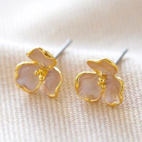 Pink Flower Stud Earrings - Buy Online UK