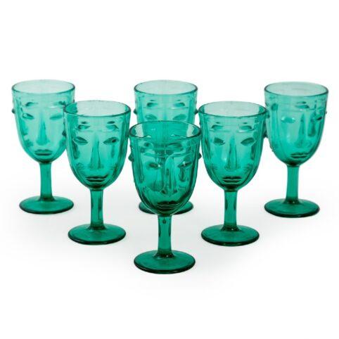 Set Of 6 Deco Face Teal Wime Glasses - Buy Online UK