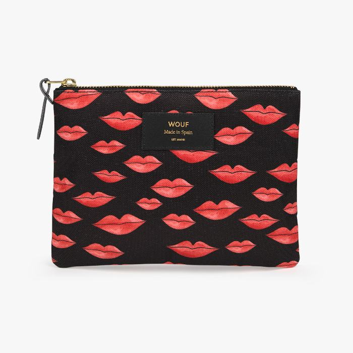 Wouf Lips Large Pouch - Recycled Fabric and Trims. For Sale Online UK