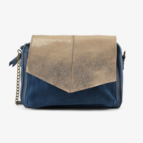 Blue leather & Suede Crossbody Bag - By Online UK