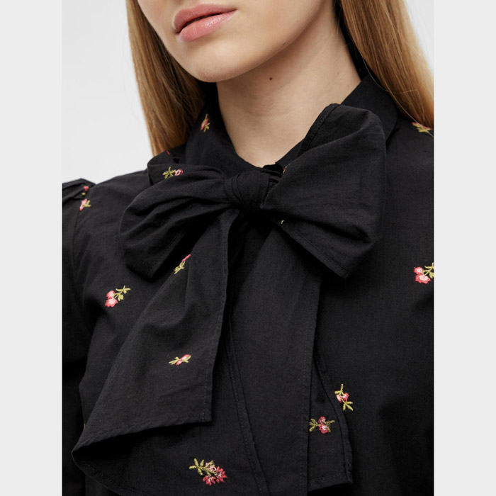 object embroidered flower shirt with a pussy bow. Buy online UK