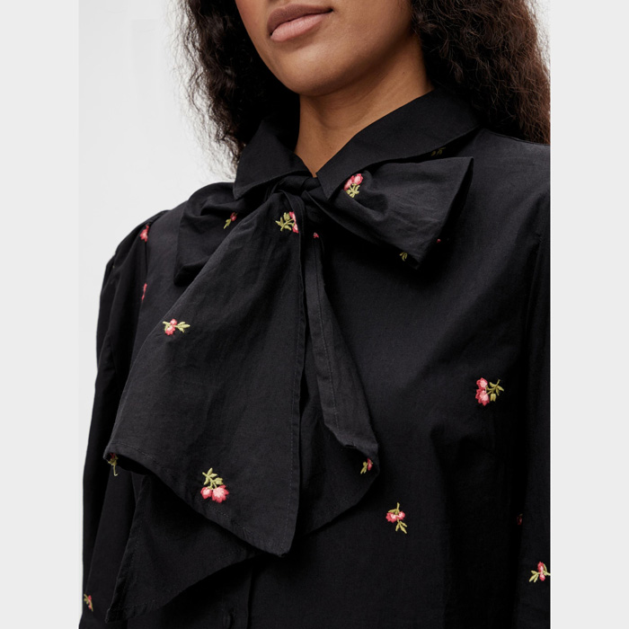 Object embroidered flower dress with a large pussy bow at the neck. Free UK delivery