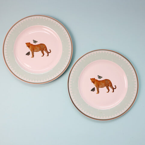 leopard side plate -set of 2. Buy online with free UK
