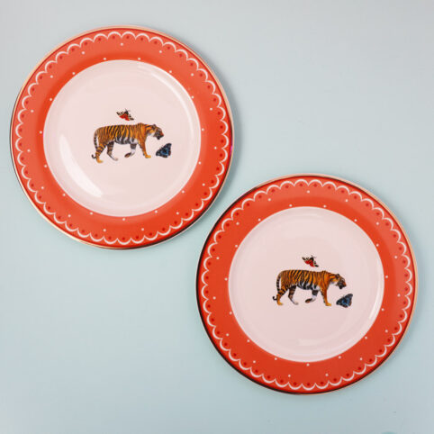 Tiger Side Plates - Set of 2. Buy Online With Free UK Delivery